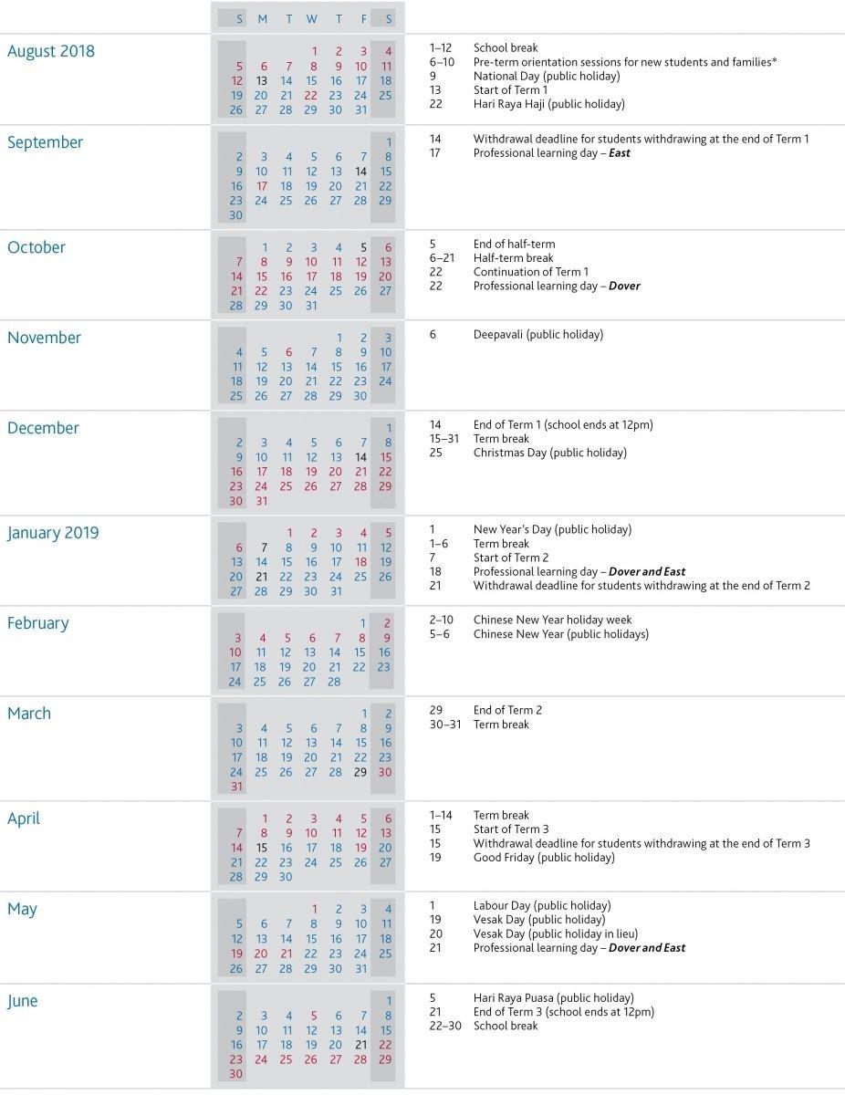 Term Dates Uwcsea International School In Singapore Catch Singapore School Term Dates Students Day
