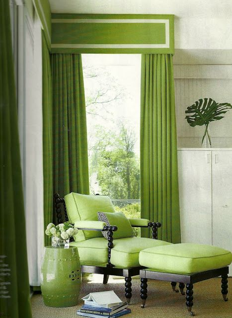 Stylelinx Fashion Interiors Beauty Green Rooms Green Curtains Living Room Green
