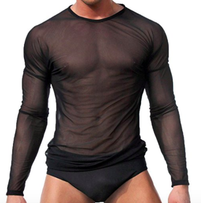 Men Sheer Mesh Polo Shirts See-Through Muscle Gym T-Shirt Top Summer Undershirt