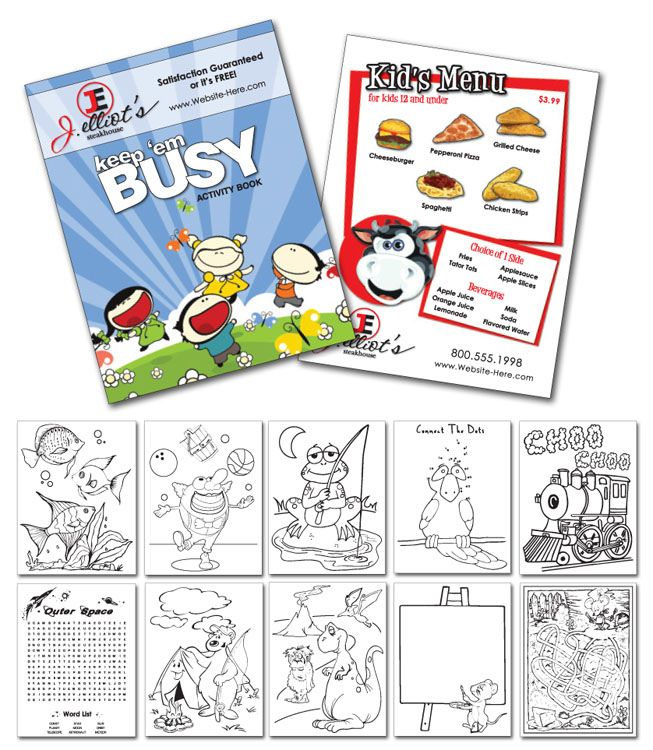 Keep Them Busy Activity Coloring Book Can Double As A Kids Menu 12 Page Coloring Activity Book Area On Front Cover Fo Coloring Books Busy Activities Kids