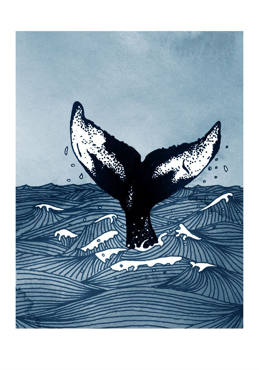 Whale tail art print humpback whale fluke in stormy sea nautical themed humpback whale - Baleine dessin ...
