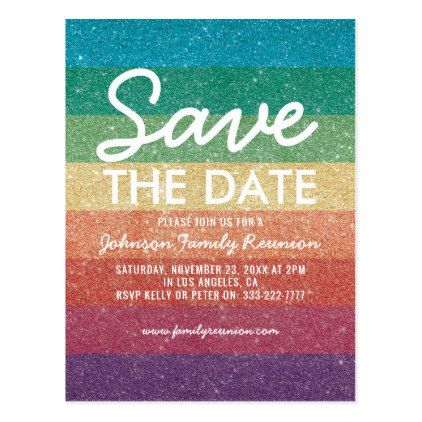 Colorful Glitter Party Reunion Save the Date Postcard - eye catching