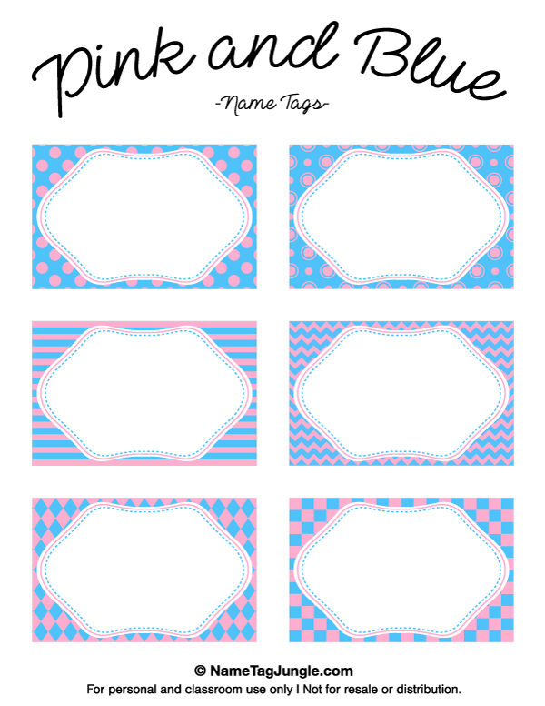 Free printable pink and blue name tags featuring patterns like ...