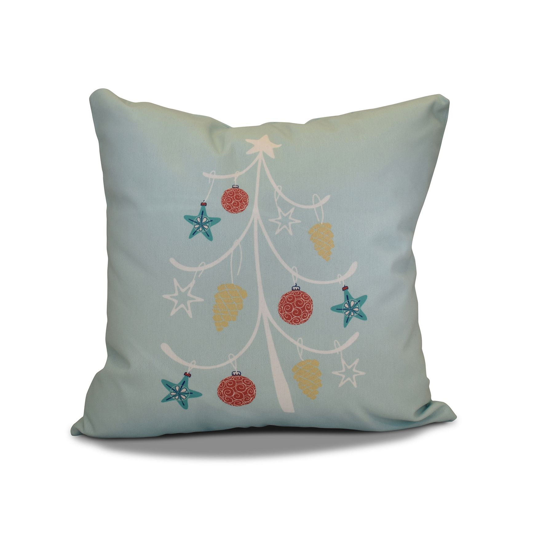 E by Design 18 x 18-inch Pinecone Tree Geometric Holiday Print Outdoor Pillow