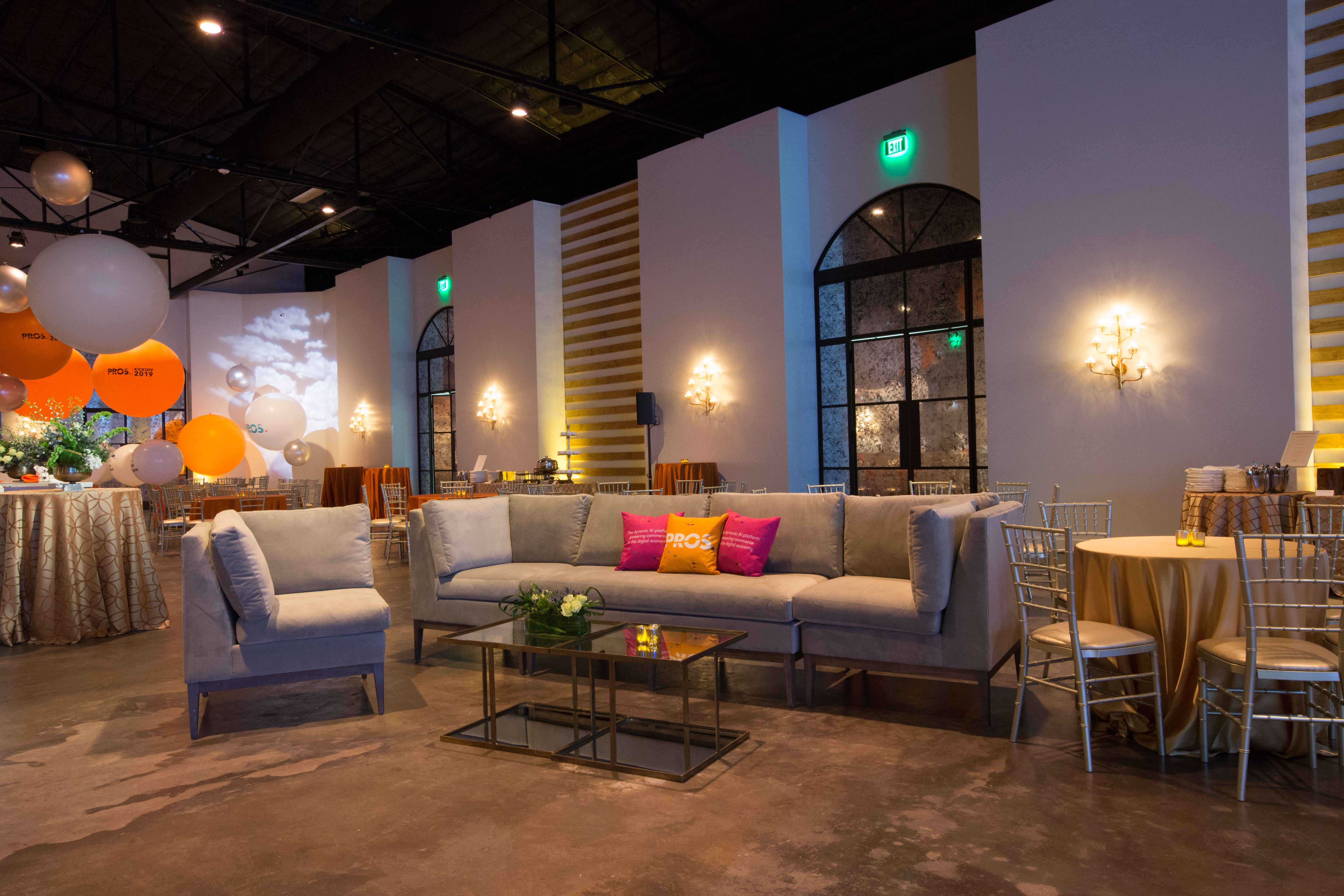 Houston Venue The Revaire Lounge Furniture Lighting Balloons Event Design