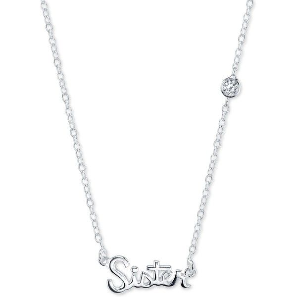 Unwritten Sister and Cubic Zirconia Pendant Necklace in Sterling... ($75) ❤ liked on Polyvore featuring jewelry, necklaces, sterling silver, cz pendant necklace, cz jewelry, bezel set cz necklace, sterling silver chain necklace and sterling silver jewelry