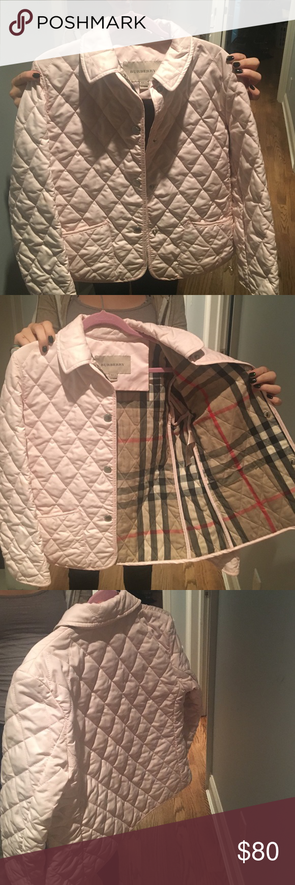 Girls Burberry jacket worn once Girls pink Burberry jacket..brand new size 10 Burberry Jackets & Coats
