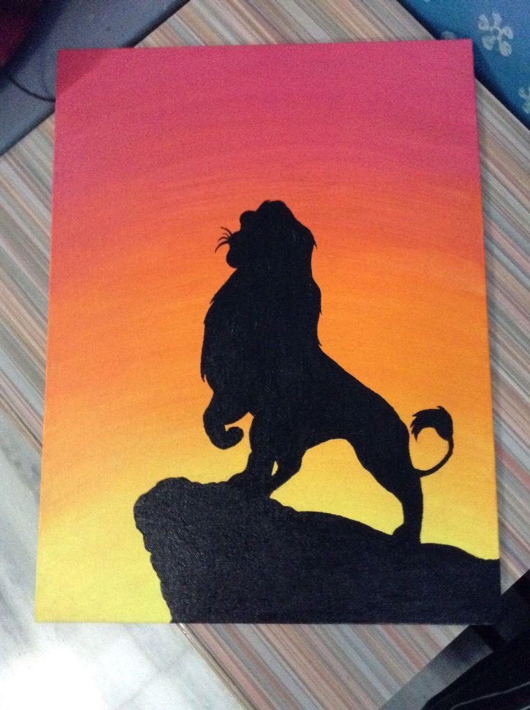The Lion King By Vatsala Shukla Canvas Acrylic Simba Disney Silhouette Disney Canvas Art Disney Canvas Cute Canvas Paintings