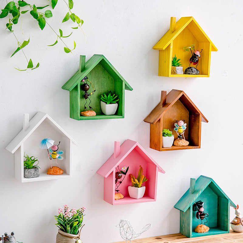 Creative de madera de la decoración de la pared de color Retro forma de Casa estantes de madera niños dormitorio artesanía decoración de pared montado estante de exhibición