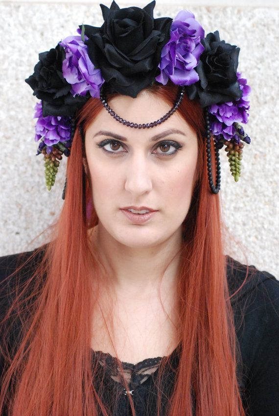 Purple and Black Rose and Flower Crown Lilac by NebulaXcrafts ... 98838735f8b