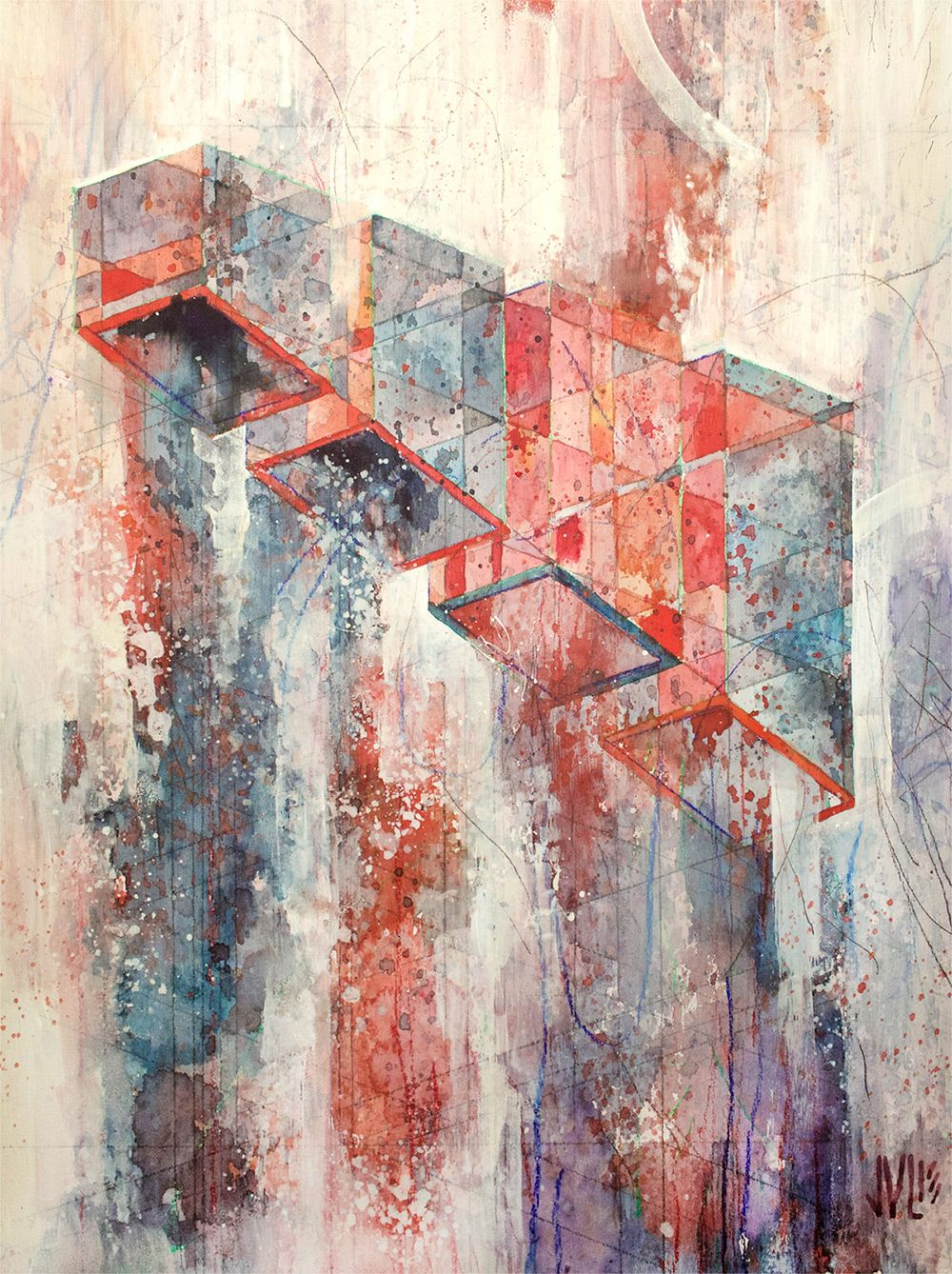 Kinzie — JACOB VAN LOON Watercolor, acrylic, graphite, and color pencil on panel…
