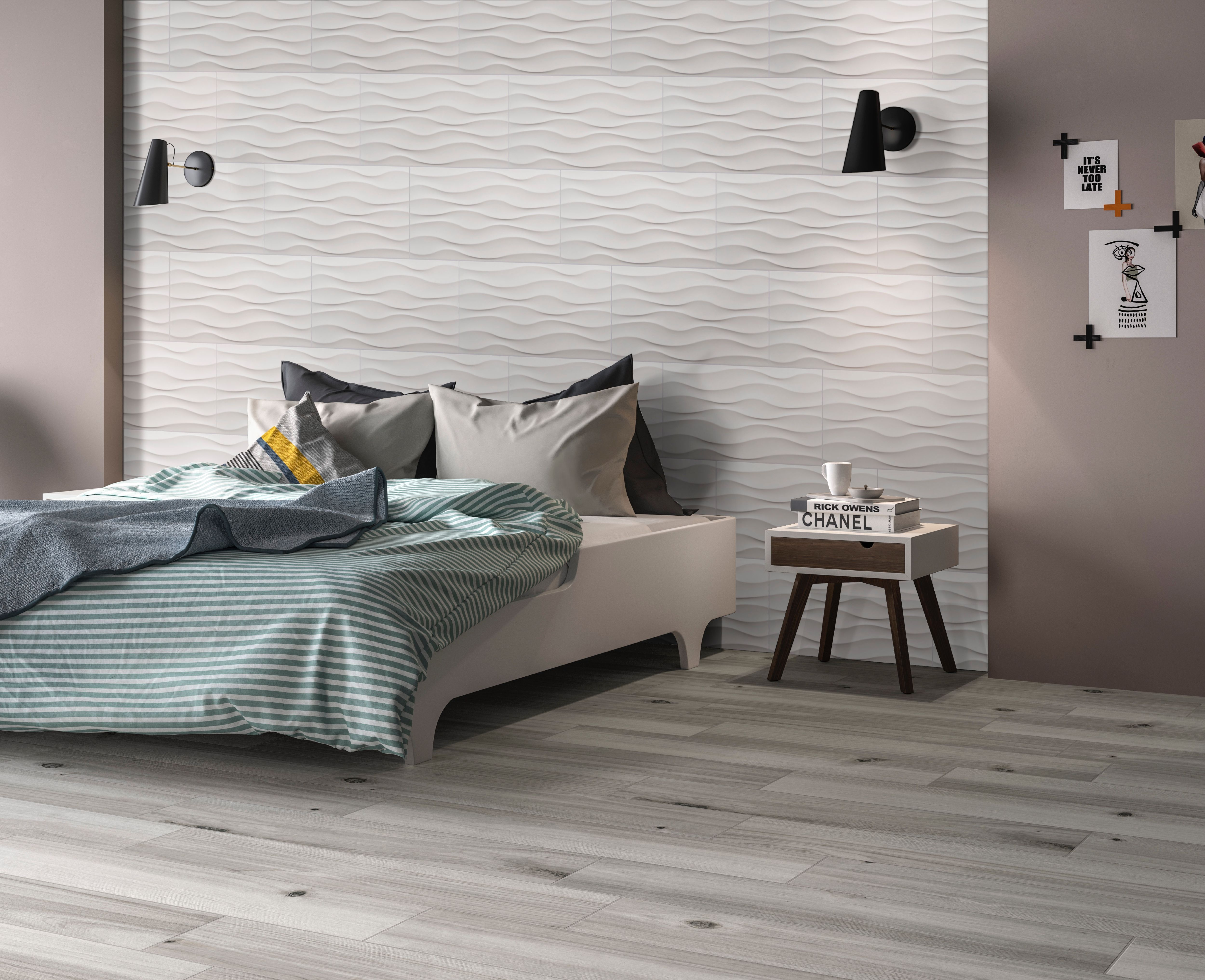 Dymo Wavy White Large Format Ceramic Tile Feature Contemporary Lines In A Glossy Finish These Beautiful And Elegant Textured Walls Elegant Tiles Bedroom Wall