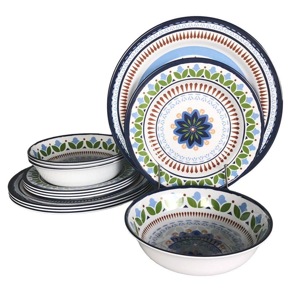 12 Pcs Melamine Dinnerware Set Rustic Plates And Bowls For Camping Service 4 Dishwasher Safe