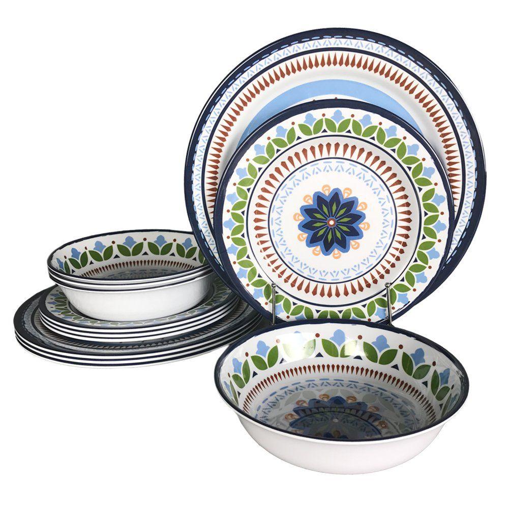 12 pcs melamine dinnerware set rustic