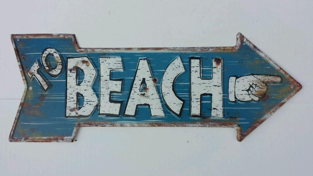 BEACH Arrow Sign Tin Signs Novelty Hanging Sign Ocean Nautical Beaches #Nautical
