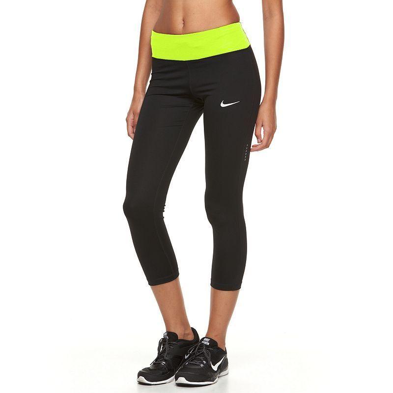 Women's Nike Power Essential Running Capris, Size: Medium, Grey (Charcoal)
