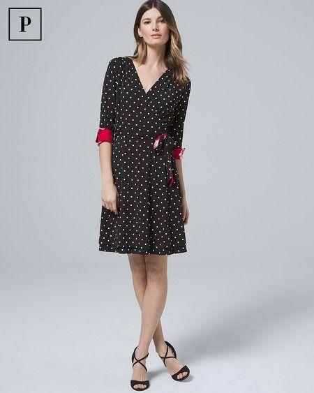 79b18f62fdb Women's Petite Reversible Dot/Floral Faux-Wrap Dress by White House Black  Market