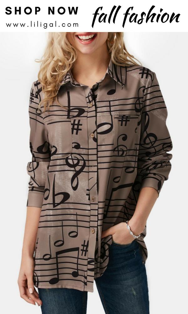 32db8f31c3c USD32.53 Turndown Collar Printed Long Sleeve Button Up Shirt  liligal   blouse  tshirt