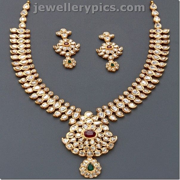 Latest Indian Jewellery Designs 2015: Top 10 Best Polki Necklace Sets Jewellery