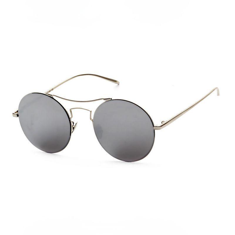 2a6350bb4 Round Metal Brow Bar Unisex Sunglasses Silver Frame Mirror Silver Lens
