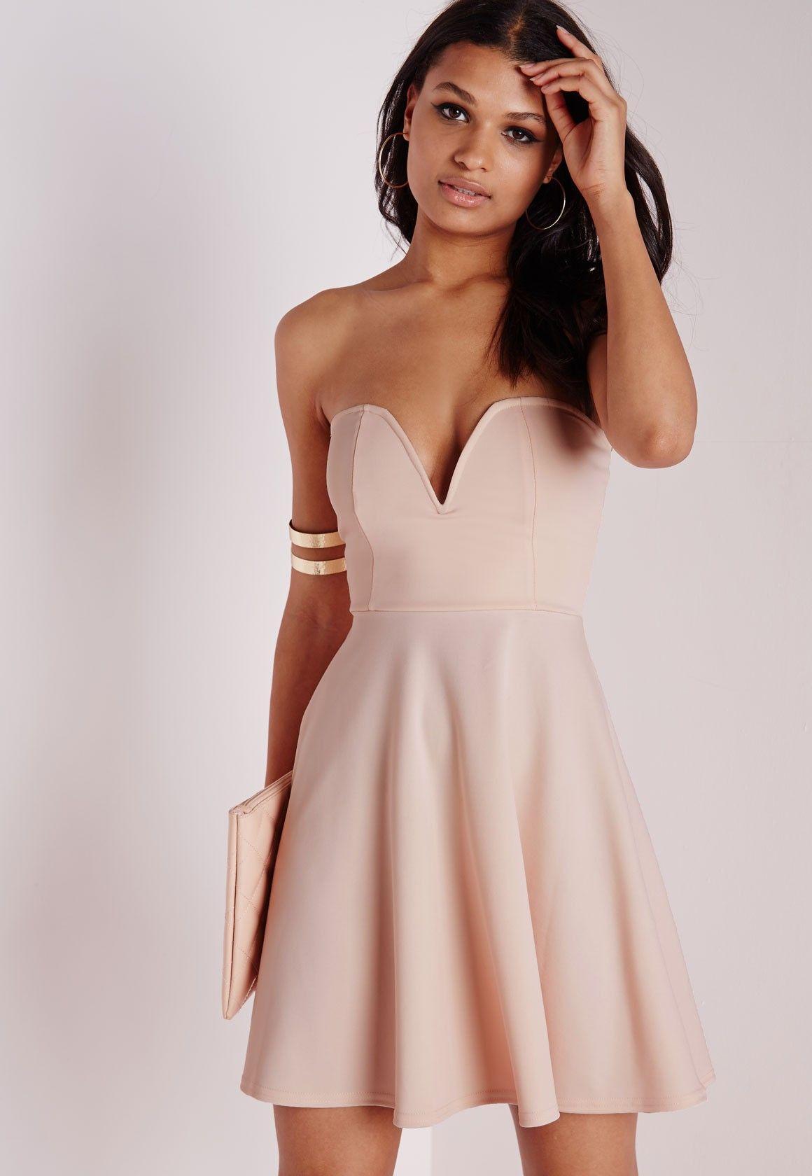 ff1471df5dea Scuba Plunge Skater Dress Nudes - Dresses - Skater Dresses - Missguided