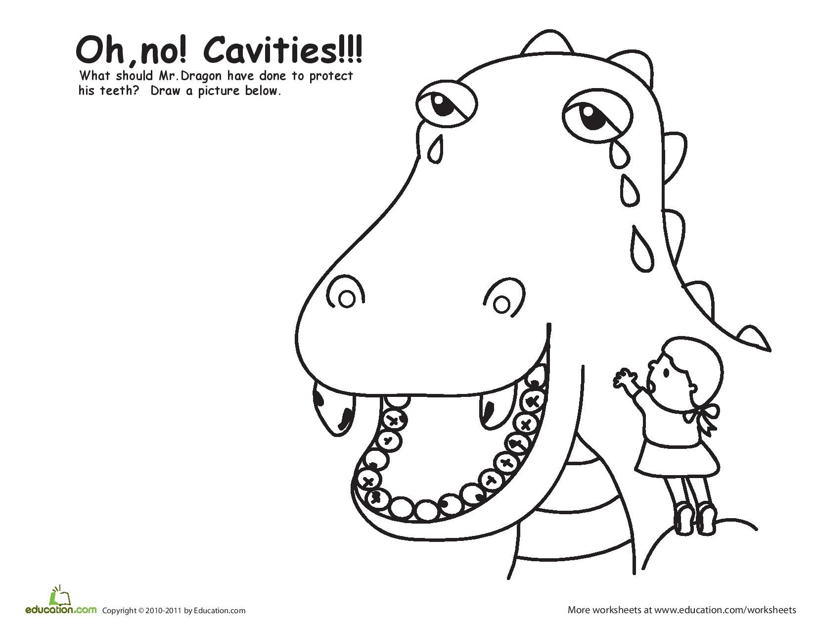 Color The Cavity Dragon Coloring Page What Should Mr Dragon Have Done To Protect His Teeth