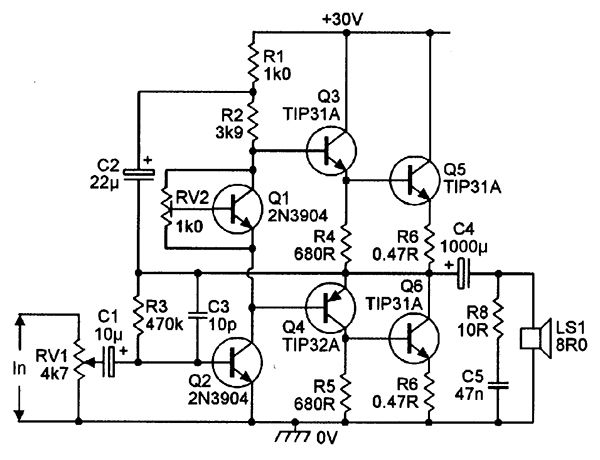 10 Watt Power Amplifier Circuit Diagram Electronic Circuits Diagram