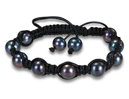 "Black Silk Cord Black Pearl Shambhala Bead Bracelet, 8"" Amour. $17.00. Save 50%!"