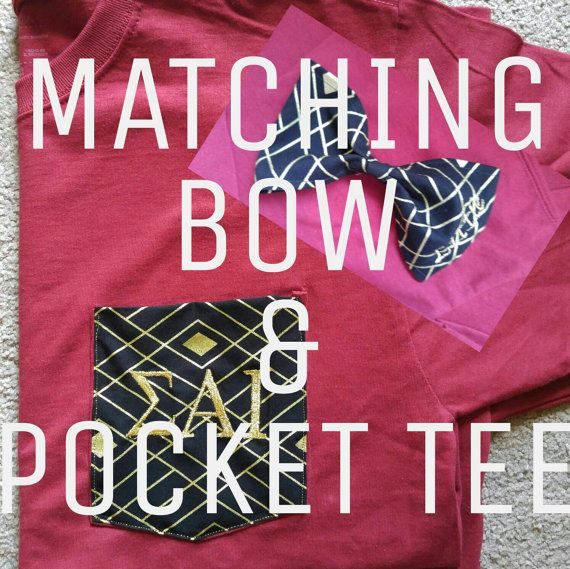 "Matching ""little"" bow and #ΣΑΙ pocket tee  https://www.etsy.com/listing/292249955/matching-bow-and-pocket-tee-big-little"
