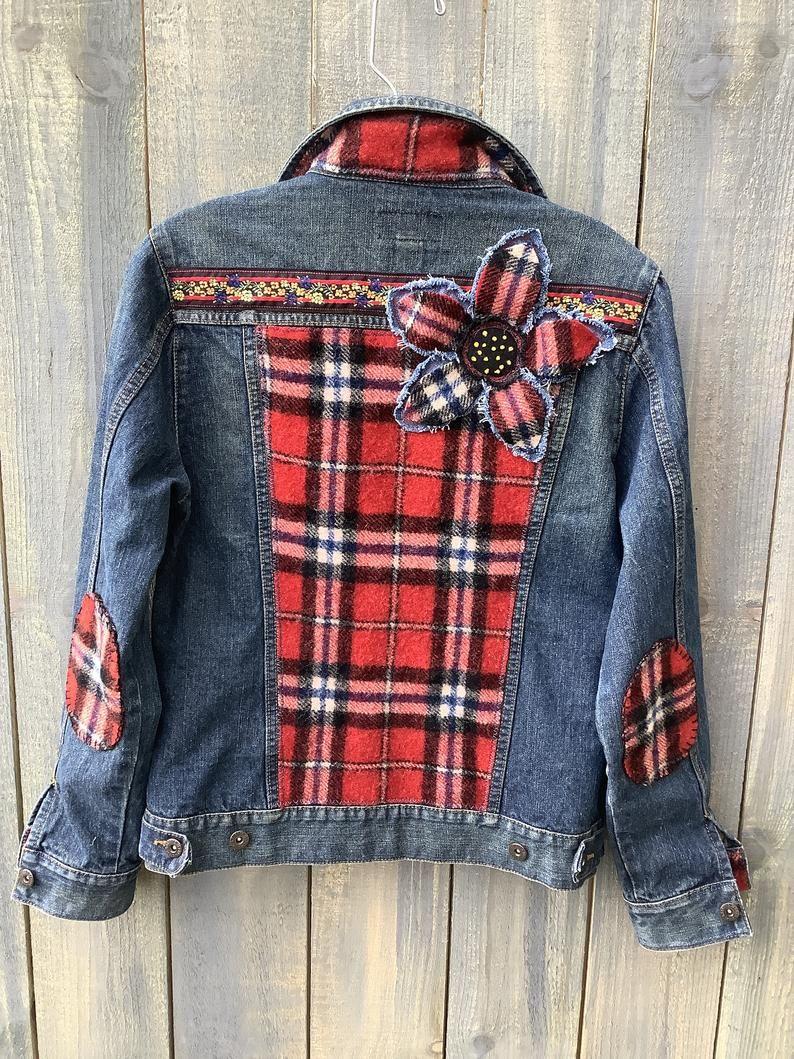 Embellished Denim Jean Jacket 100 Wool Felted Plaid Etsy Embellished Denim Jacket Diy Denim Jacket Denim Ideas [ 1059 x 794 Pixel ]