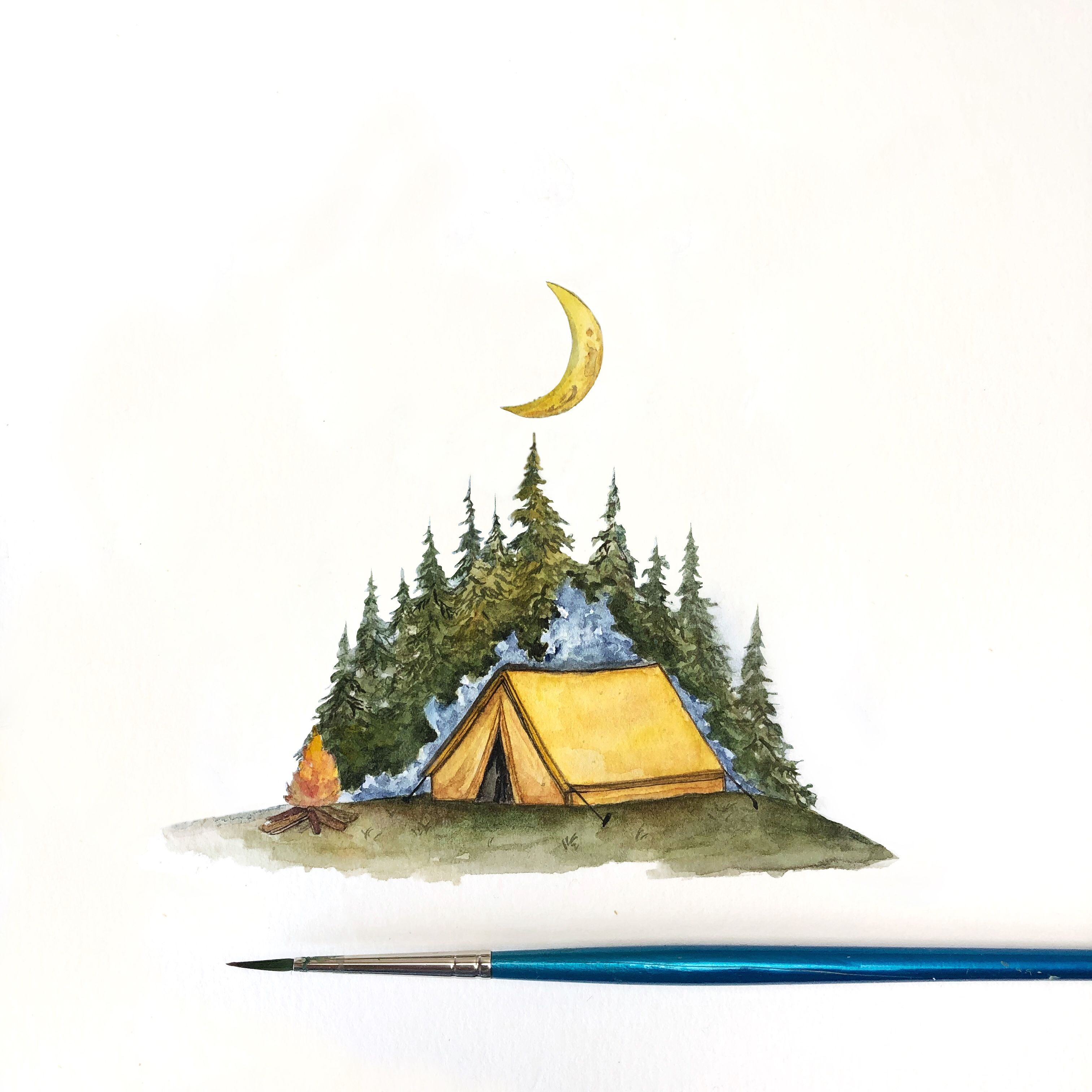 Watercolor Illustration Of A Camping Scene With Tent And Campfire