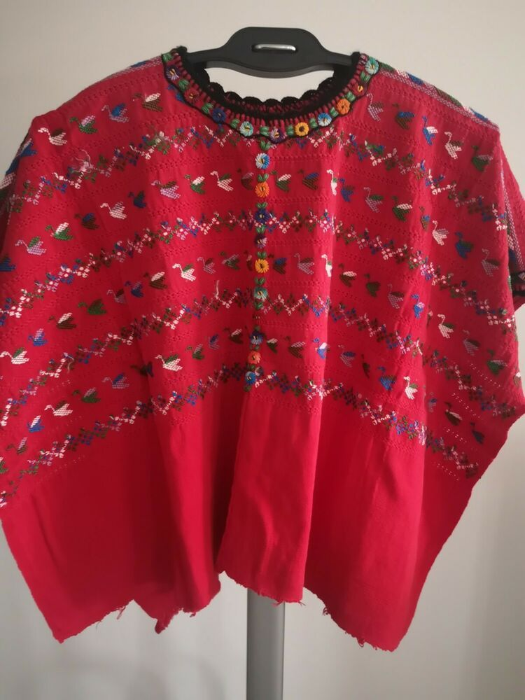 Vintage Guatemalan Embroidered Huipil l Cotton Handmade Tunic Poncho Top