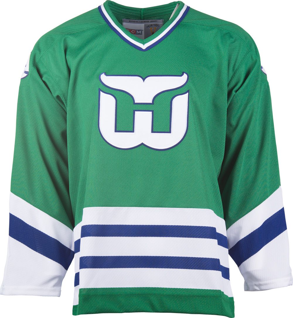 62df5069d Hartford Whalers CCM Vintage 1979 Green Replica NHL Hockey Jersey