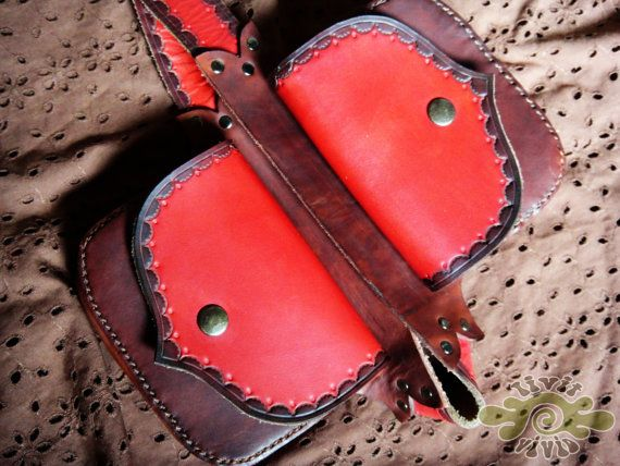 LeAthEr BeLt bAg with 2 pockets - hand tooled, sewn and painted red and brown