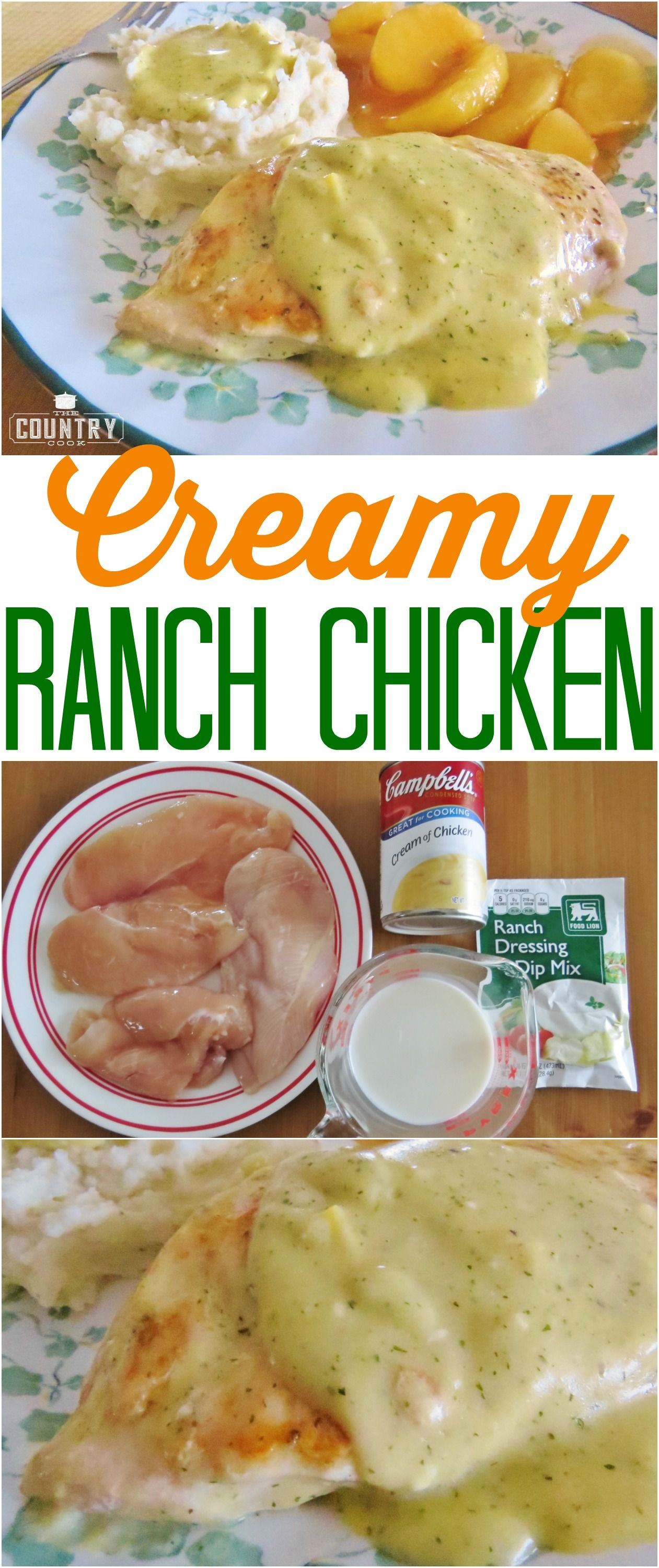 Creamy Ranch Chicken Recipe From The Country Cook Only 4 Ingredients Creamy Ranch Chicken Recipe Recipes Ranch Chicken Recipes