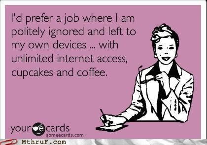 I'd prefer a job where I am politely ignored and left to my own devices..with unlimited interenet access, cupcakes and coffee.
