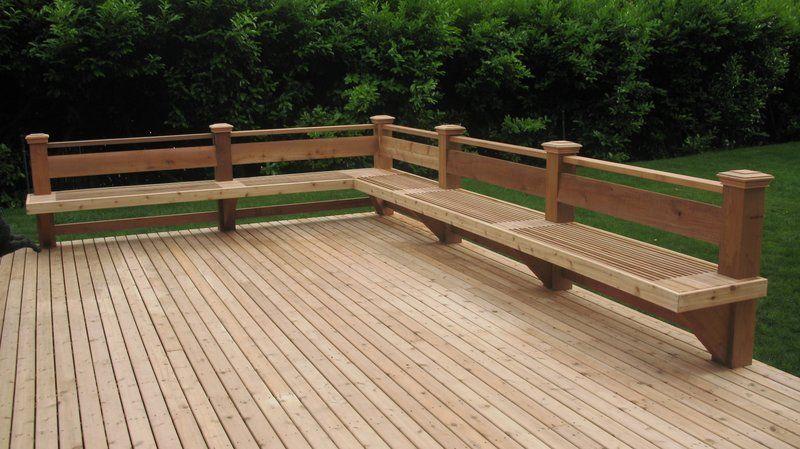 Straight Cedar Deck And Bench In Bellevue Decks Backyard Deck