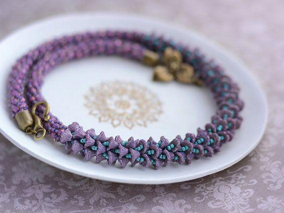 Beaded crochet necklace Leya by Chudibeads on Etsy