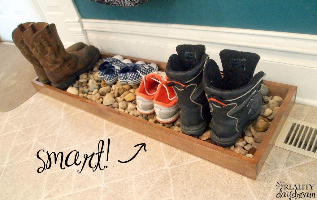 Diy Drip Tray For Wet And Muddy Shoes Reality Day Dream Shoe Tray Diy Custom Closet Custom Closet Shelving