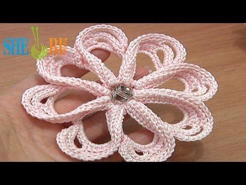 How To Rochet Flower 8 Petals Tutorial 58 Stitches Worked Around