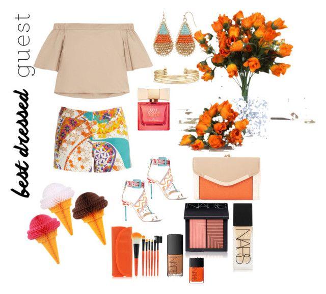 """dressed in orange"" by via-rebelo on Polyvore featuring TIBI, Trina Turk, New Look, Stella & Dot, Sophia Webster, Kate Spade, NARS Cosmetics, napa, winerywedding and bestdressedguest"