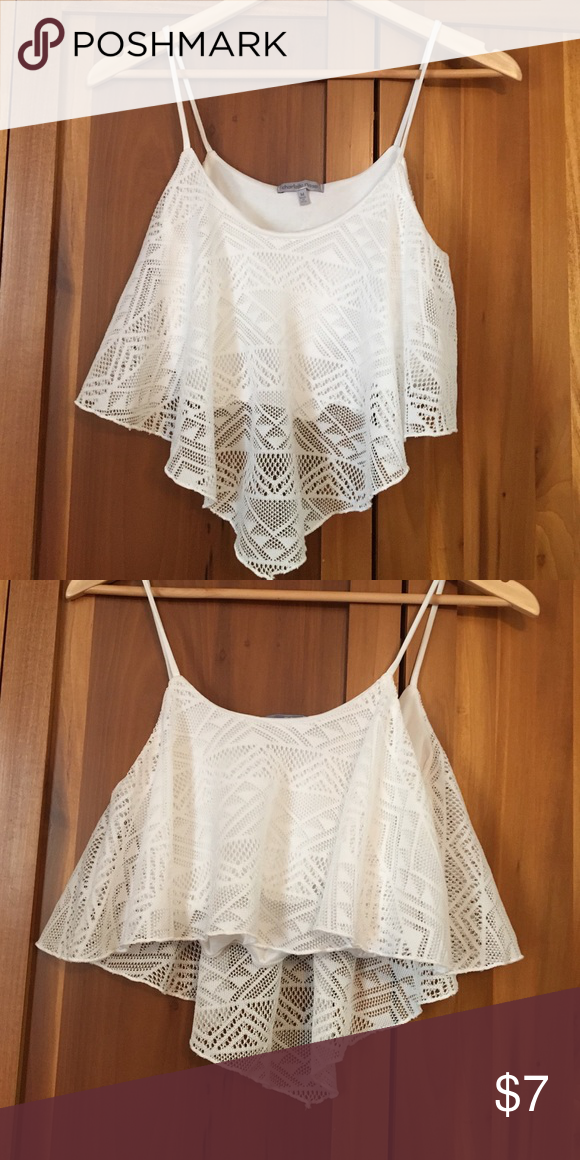 White flowy crop top Pretty flowy lace like crop top Charlotte Russe Tops Crop Tops