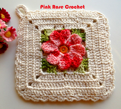 PINK ROSE CROCHET /: Pega Panelas Square com Flor - Crochê   Crochet ...