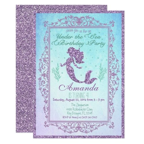 Mermaid Pool Party Under the Sea Birthday Card Mermaid birthday