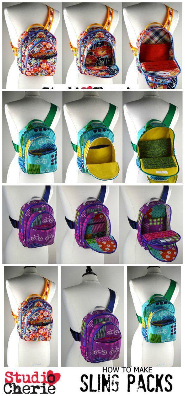 Sling style backpack pattern | Taschen nähen, Diy tasche nähen und ...