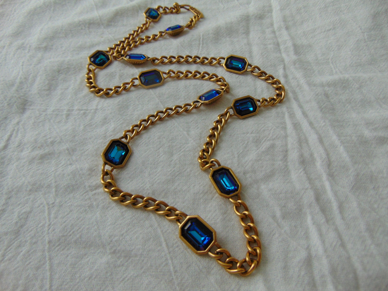 Vintage ysl blue heliotrope crystals matte gold necklace stations