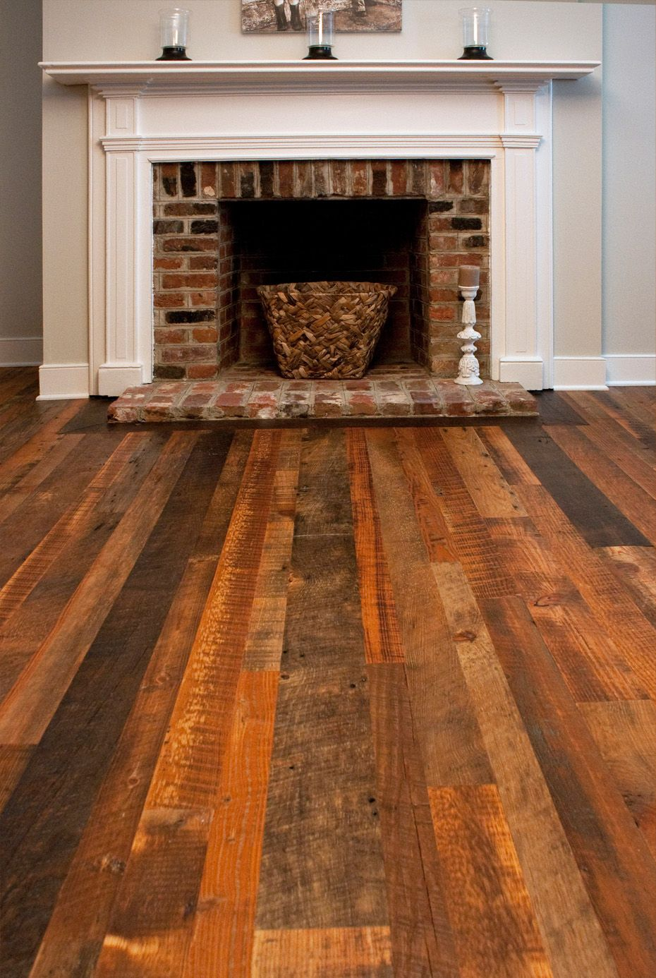 Weathered antique heart pine flooring this company says for Reclaimed flooring