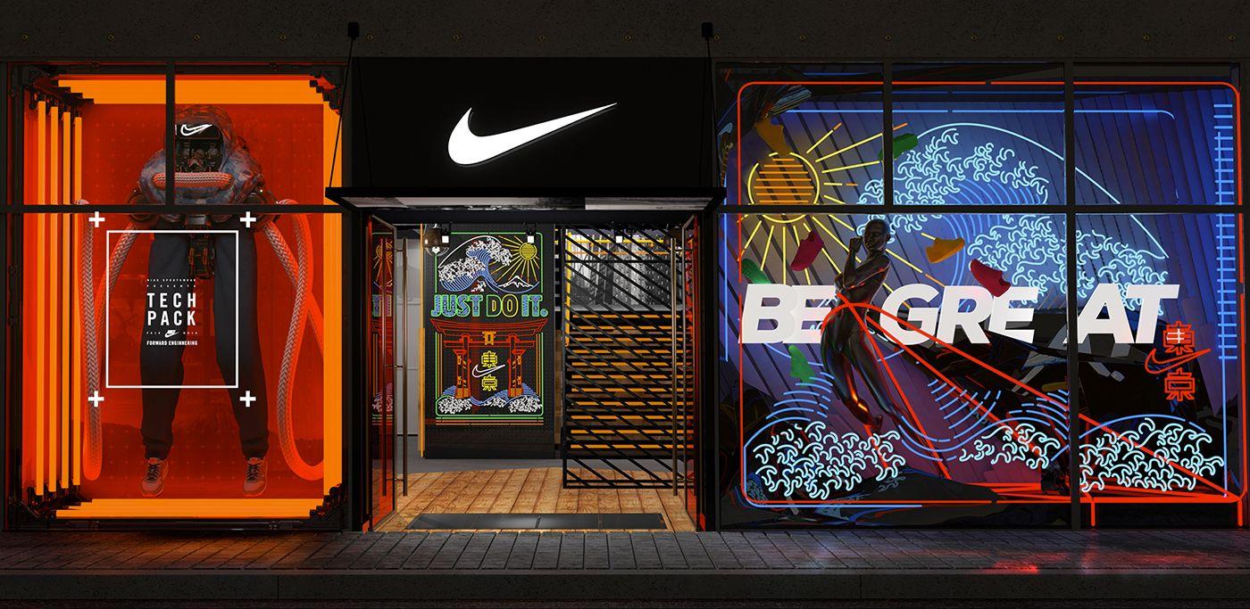 Concurso Desde Contador  Nike - Forward Engineering vs Industrial Logoism on Behance   Store design,  Nike retail, Retail facade