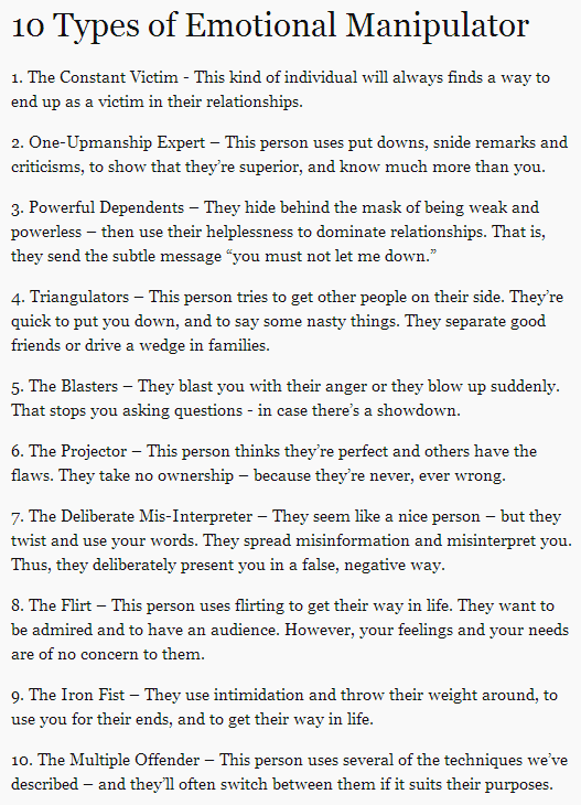10 types of emotional manipulators - this is so important to watch