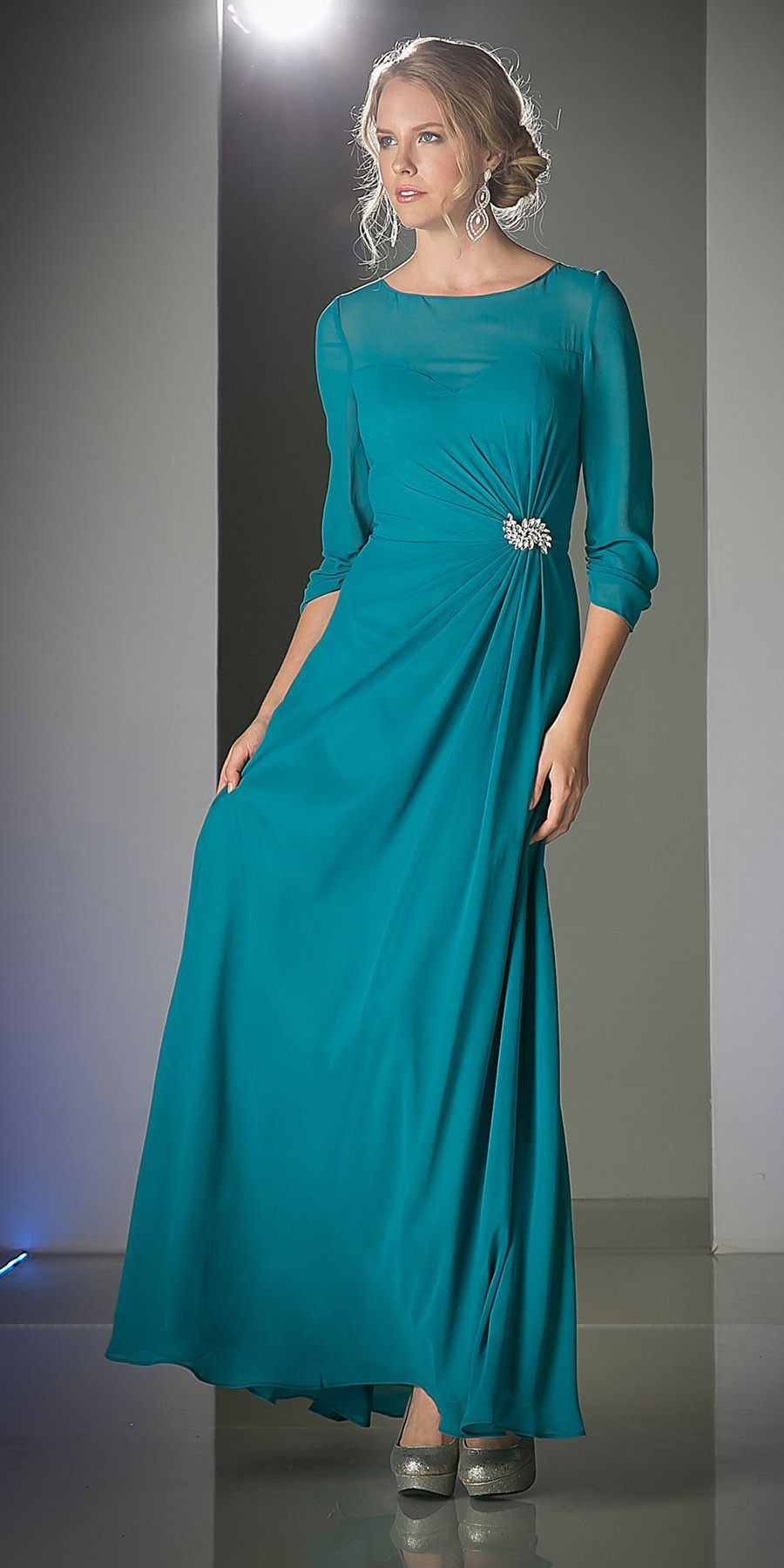 CLEARANCE - Long Jade Mother of Bride Jeweled Accent Mid Sleeves ...